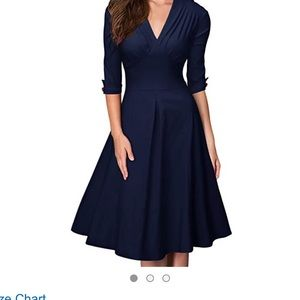 Pinup retro vintage 50's flared dress navy blue L